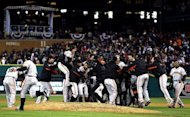 The San Francisco Giants celebrate defeating the Detroit Tigers and winning in the 108th Major League Baseball World Series at Comerica Park on October 28, 2012 in Detroit, Michigan