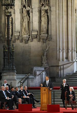 U.S. President Barack Obama addresses members of parliament in Westminster Hall in London, England Wednesday, May 25, 2011. Obama was granted the honor of being the first U.S. president to speak from the grand setting of Westminster Hall, and he received a deeply friendly welcome.  (AP Photo/Jeff J Mitchell, pool)