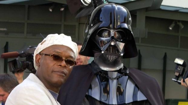 Samuel L. Jackson and Darth Vader at the Grauman's Chinese Theater in Hollywood, May 2002 -- Getty Premium