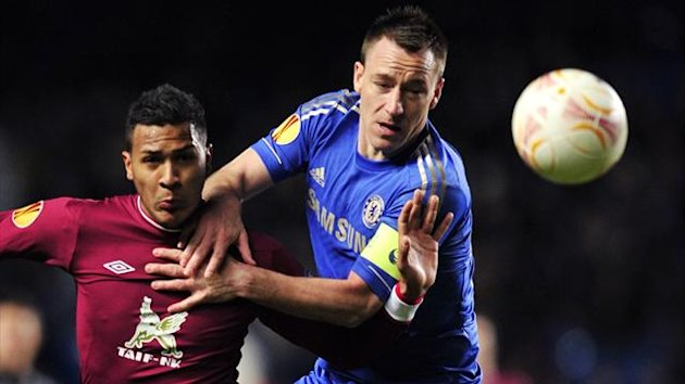 Chelsea's John Terry (R) vies with Rubin Kazan's Venezuelan striker Jose Rondon (L) during the Europa League quarter-final first leg at Stamford Bridge (AFP)