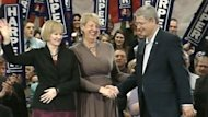 Kathy Dunderdale smiled broadly during Stephen Harper's campaign stop in St. John's in March 2011 during the federal election.