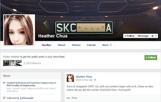 "A 22-year-old man is under investigation by local police for a string of offensive remarks he allegedly posted under the fictitious name ""Heather Chua"" on Facebook. (Facebook screengrab)"