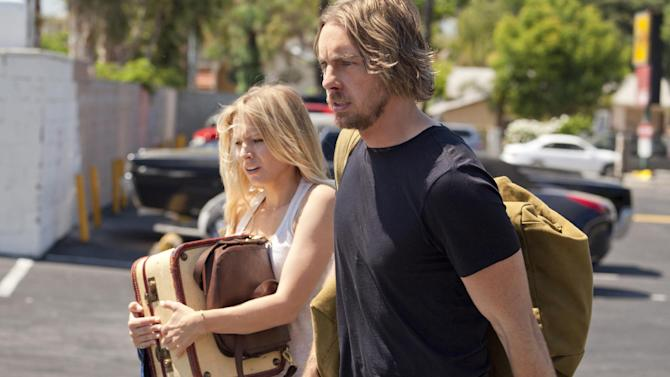 """This film image released by Open Road Films shows, Kristen Bell, left, and Dax Shepard in a scene from """"Hit and Run.""""  (AP Photo/Open Road Films, Jeffrey Reed)"""