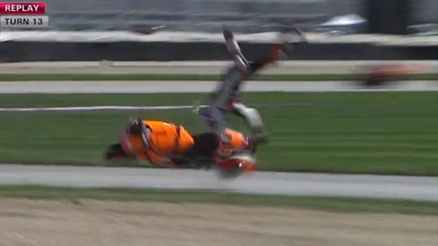 Casey Stoner crashes at Indianapolis