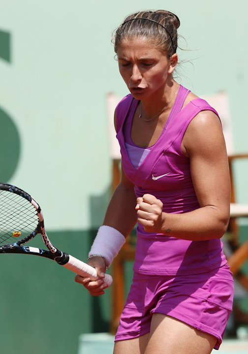 Italy's Sara Errani Reacts  AFP/Getty Images