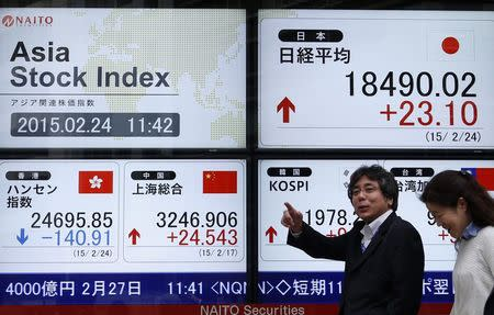 Asian shares drift lower as caution prevails