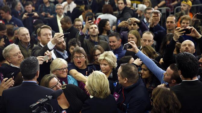 Democratic presidential candidate Hillary Clinton meets with supporters at her first-in-the-nation presidential primary campaign rally, Tuesday, Feb. 9, 2016, in Hooksett, N.H. Clinton lost to Bernie Sanders in New Hampshire.  (AP Photo/Matt Rourke)