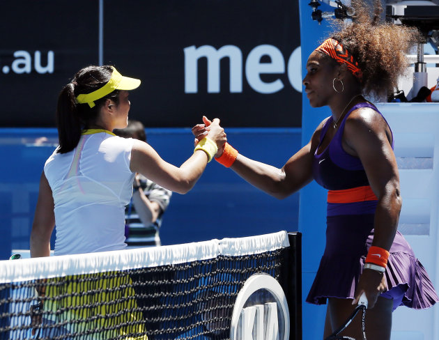 Serena Williams of the US, right, is congratulated by Japan's Ayumi Morita after Williams won their third round match at the Australian Open tennis championship in Melbourne, Australia, Saturday, Jan.