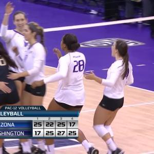 Recap: No. 6 Washington women's volleyball finishes strong to top No. 14 Arizona