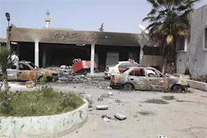 A general view of the scene at the site of clashes between rival militias in Tripoli