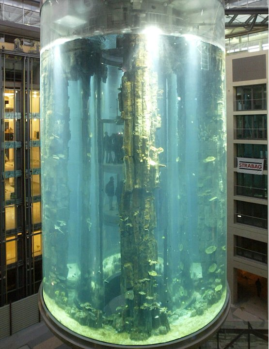 VISITORS USE THE LIFT INSIDE THE AQUADOM IN BERLIN.