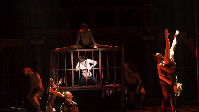 """This undated publicity photo provided by American Repertory Theater shows """"The Flesh"""" scene in a production of """"Pippin,"""" at the American Repertory Theater in Cambridge, Mass. (AP Photo/ American Repertory Theater, Michael J. Lutch)"""