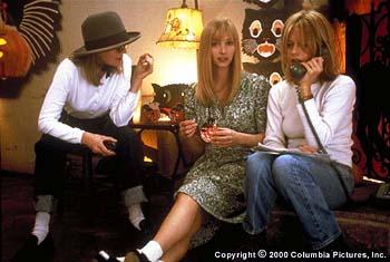 Director Diane Keaton (left), who also stars in the Columbia Pictures presentation Hanging Up , discusses a scene with Lisa Kudrow (center) and Meg Ryan .