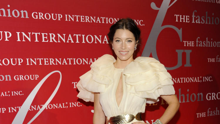 "Actress Jessica Biel attends the Fashion Group International's 28th Annual Night of Stars ""The Luminaries"" at Cipriani Wall Street on Thursday, Oct. 27, 2011 in New York. (AP Photo/Evan Agostini)"