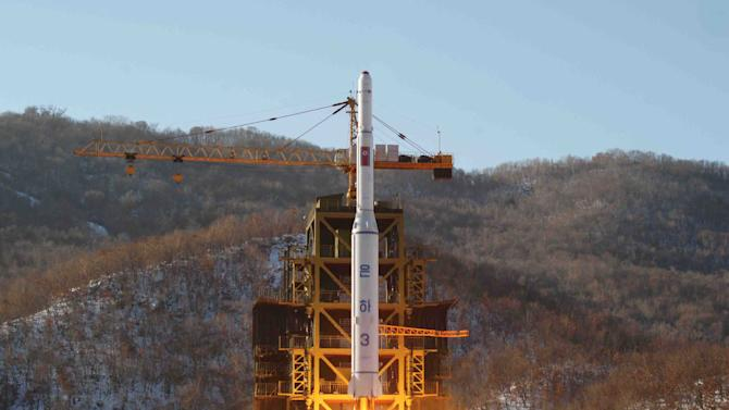 "FILE - In this Dec. 12, 2012 file photo released by Korean Central News Agency, North Korea's Unha-3 rocket lifts off from the Sohae launch pad in Tongchang-ri, North Korea.North Korea vowed Monday, Jan. 14, 2013, to strengthen its defenses amid concerns the country may conduct a nuclear test as a follow-up to last month's long-range rocket launch. Citing U.S. hostility, Pyongyang's Foreign Ministry said in a memorandum that North Korea will ""continue to strengthen its deterrence against all forms of war."" (AP Photo/KCNA, File)"