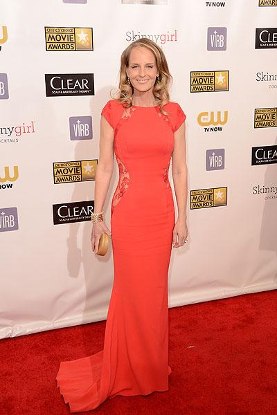 Helent Hunt: We love Helen Hunt! Not only is she an incredible actress but she has flawless style. The 'The Sessions' actress wears a redish orange dress by British designer Philip Armstrong. The bright colour complements the elegant look with a twist: Lace cutouts on the hips ups the sex appeal. (Photo by Jason Merritt/Getty Images)
