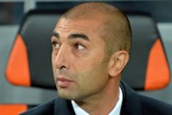 Chelsea FC&#39;s coach Roberto Di Matteo reacts during the UEFA Champions League, Group E, football match with FC Shakhtar in Donetsk. Shakhtar won 2-1