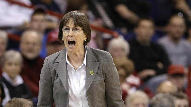 Stanford coach Tara VanDerveer yells during the first half of Stanford's regional semifinal against Georgia in the NCAA women's college basketball tournament Saturday, March 30, 2013, in Spokane, Wash. (AP Photo/Elaine Thompson)