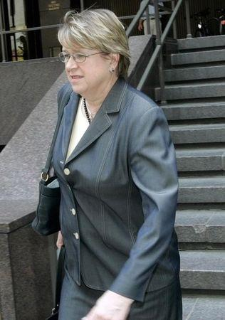 Denmark's Ambassador to the United Nations Ellen Margrethe Loj leaves a meeting at the French Mission in New York