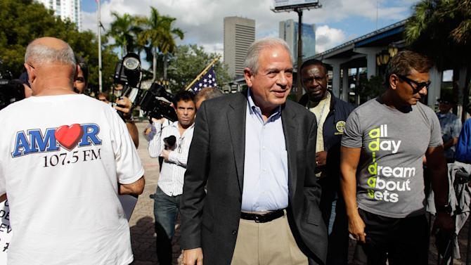 City of Miami mayor Tomas Regalado arrives during a protest at the Jose Marti park in Miami