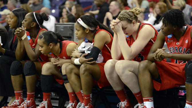 Georgia's bench reacts during the final moments of their game against California in the second half in a regional final in the NCAA women's college basketball tournament, Monday, April 1, 2013, in Spokane, Wash. California beat Georgia 65-62. (AP Photo/Jed Conklin)