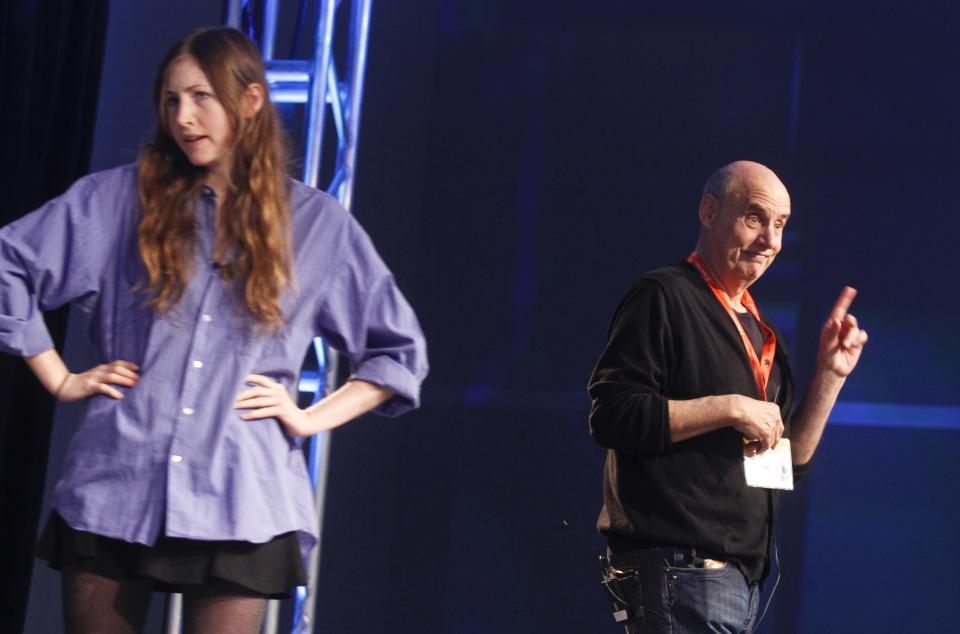 Jeffrey Tambor, right, comments on student Kate Sheil's, left, performance during his acting workshop at the SXSW Film Festival and Conference in Austin, Texas, on Sunday, March 11, 2012. (AP Photo/Jack Plunkett)