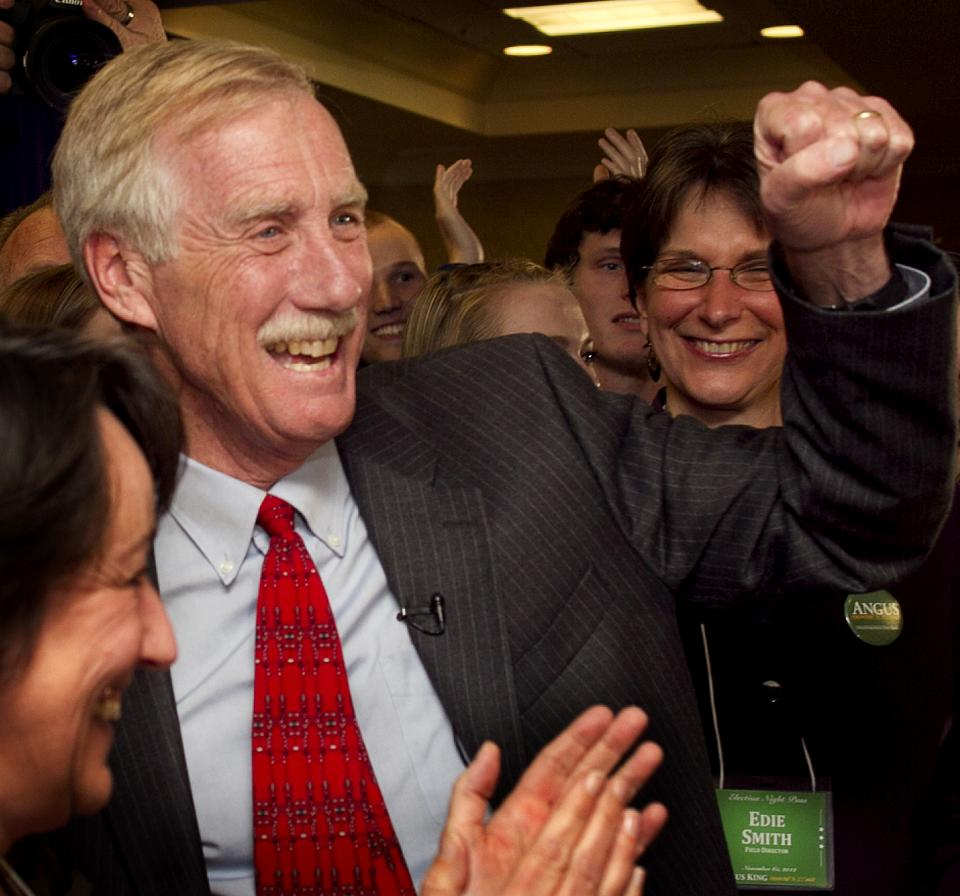 FILE - In this Nov. 6, 2012 file photo, Sen.-elect Angus King, I-Maine, celebrates his victory, in Freeport, Maine. (AP Photo/Robert F. Bukaty, File)