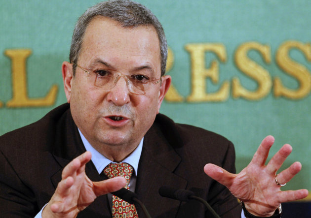 Israeli Defense Minister Ehud Barak speaks during a press conference in Tokyo, Japan. in an interview published Monday, Sept. 24, 2012 Barak called for a unilateral pullout from most of the West Bank if peace efforts with the Palestinians remain stalled