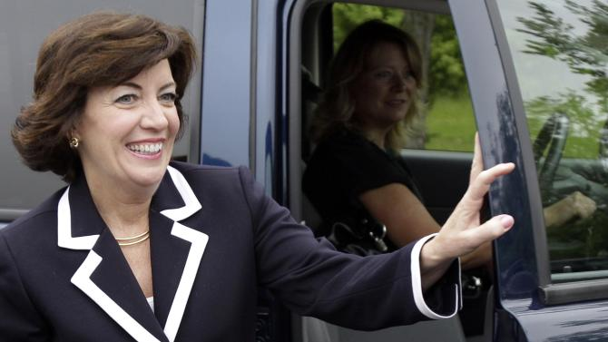 FILE - In this May 24, 2011, file photo, then-Democratic candidate for the 26th District Congressional seat, Kathy Hochul arrives at a campaign stop at a restaurant in Amherst, N.Y. New York state may provide the paradigm test this election of the staying power of Republicans who rode a tea party wave to a House majority two years ago _ and for Democrats striving to regain control. The big money involved in the contests reveals the GOP's intent on preserving its foothold in the heavily Democratic state. The National Republican Congressional Committee said that it had reserved $5.25 million for TV time in New York, more than half to defend three freshmen. The rest is going to three districts held by Democrats, including the Buffalo area seat won by Kathy Hochul in a special election upset last year. (AP Photo/David Duprey, File)