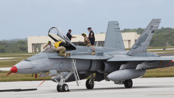 An Australian fighter jet is readied for a training mission