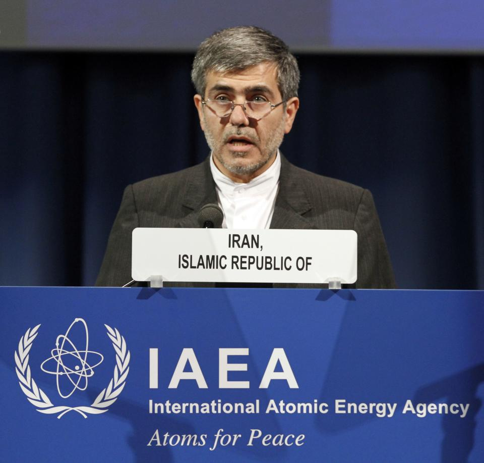 Fereidoun Abbasi Davani, Iran's Vice President and Head of Atomic Energy Organization delivers a speech at the general conference of the International Atomic Energy Agency, IAEA, at the International Center, in Vienna, Austria, Monday, Sept. 17, 2012. (AP Photo/Ronald Zak)