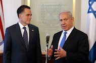 US Republican presidential hopeful Mitt Romney (left) listens to Israeli Prime Minister Benjamin Netanyahu before a meeting in Jerusalem. Romney told Netanyahu that he recognises Israel's right to defend itself, and that it is right for America to stand with them