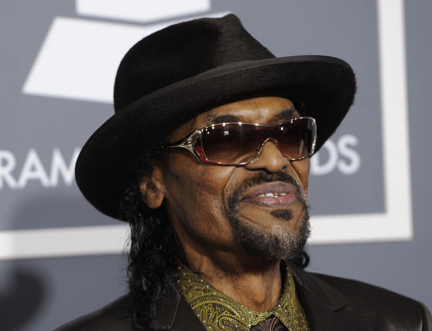 FILE - In this Feb. 13, 2011 file photo, Chuck Brown arrives at the 53rd annual Grammy Awards in Los Angeles. Brown, who styled a unique brand of funk music as a singer, guitarist and songwriter known