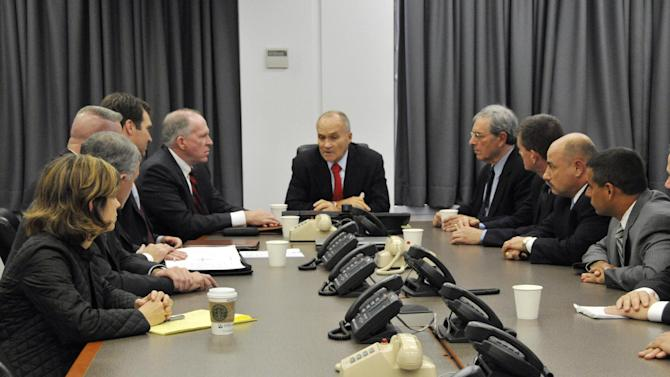In this photo released by the New York City Police Department, NYC Police Commissioner Raymond Kelly, center, briefs other NYPD officials and John O. Brennan, assistant to the President for Homeland Security and Counterterrorism, center right, on events surrounding the alleged plot to bomb NYC commuter trains on Sept. 11, at Police Headquarters in New York, Saturday, Sept. 26, 2009. Seated at the table from left are Katherine Lemire, special council to the police commissioner; Deputy Inspector John Nicholson of the Joint Terrorism Task Force; Commanding Officer of the NYPD Counterterrorism Bureau, Assistant Chief James Waters; Deputy Commissioner of the Counterterrorism Bureau, Richard Falkenrath; John O. Brennan; Raymond Kelly; Deputy Commissioner of Intelligence, David Cohen; Commander of the Joint Terrorism Task Force, Deputy Chief James Shea; Lt. Joseph Falco of the Joint Terrorism Task Force and Assistant Chief Thomas Galati, who commands the Intelligence Division. In more than six years spying on Muslim neighborhoods, the New York Police Department's secret Demographics Unit never generated a lead or triggered a terrorism investigation. That's according to court testimony unsealed Monday, Aug. 20, 2012. The Demographics Unit is at the heart of a police spying effort built with help from the CIA. The unit created databases on where Muslims lived, shopped, worked and prayed. As part of a longstanding federal civil rights case, Galati offered the first official look at the unit. Galati testified as part of a lawsuit over police spying on students, civil rights groups and suspected Communist sympathizers during the 1950s and 1960s. (AP Photo/NYPD)