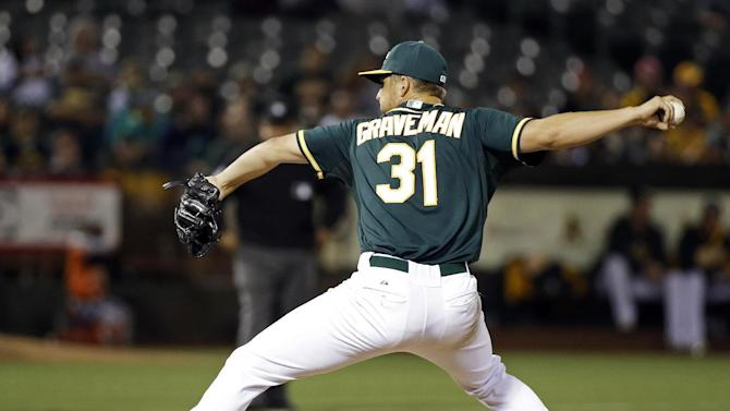 Oakland Athletics pitcher Kendall Graveman throws against the Colorado Rockies in the seventh inning of their baseball game Monday, June 29, 2015, in Oakland, Calif. (AP Photo/Eric Risberg)