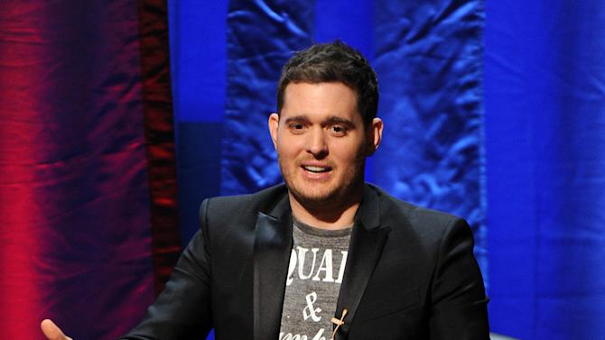 """IMAGE DISTRIBUTED FOR ACADEMY OF TELEVISION ARTS & SCIENCES - Singer Michael Buble participates in the Academy of Television Arts & Sciences Presents """"An Evening With Michael Buble"""" at the Wadsworth Theatre on Sunday, April 28, 2013 in Los Angeles, California. (Photo by Frank Micelotta/Invision for the Academy of Television Arts & Sciences/AP Images)"""