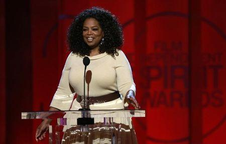 "Entertainer and producer Oprah Winfrey arrives to introduce a clip from her Best Feature nominated film ""Selma"" at the 2015 Film Independent Spirit Awards in Santa Monica"