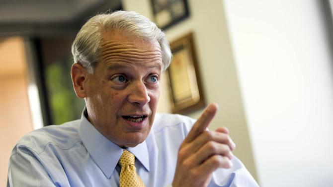 In this May 1, 2014, photo, chairman of the Democratic Congressional Campaign Committee Rep. Steve Israel, D-N.Y., gestures during an interview with the Associated Press in Washington. House Democrats' campaign arm said Friday it raised $7.3 million in May despite long odds of toppling Republicans from their majority. (AP Photo/ Evan Vucci)