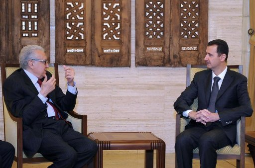 "Syrian President Bashar al-Assad (R) meets with peace envoy Lakhdar Brahimi in the capital Damascus, December 24, 2012. Brahimi held ""constructive"" talks in Syria with Assad, as Washington warned that his regime's days are numbered."