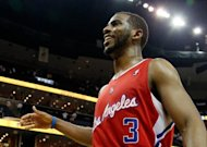 Chris Paul of the Los Angeles Clippers celebrates after their 82-72 win over the Memphis Grizzlies in Game Seven of the Western Conference Quarterfinals in the 2012 NBA Playoffs at FedExForum in Memphis, Tennessee