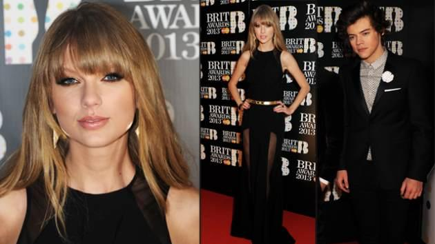 Taylor Swift, Harry Styles at the Brit Awards in London, Feb. 20, 2013 -- Getty Images