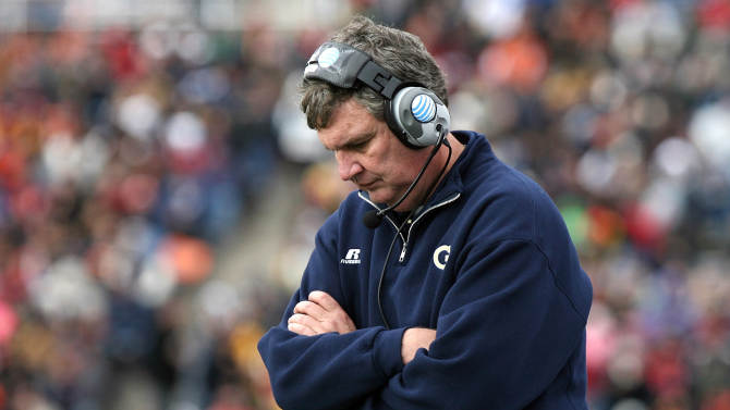 Georgia Tech head coach Paul Johnson reacts after his team fumbled during the Sun Bowl NCAA college football game against Southern California, Monday, Dec. 31, 2012, in El Paso, Texas. (AP Photo/Mark Lambie)