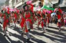 """In this May 30, 2015 photo, revelers of the Los Tinkus dance troupe perform during the annual parade in honor of """"El Senor del Gran Poder,"""" or """"The Lord of Great Power"""" in La Paz, Bolivia. The weeklong celebration is the city�s largest festival and a major showcase of Andean folklore. (AP Photo/Juan Karita)"""