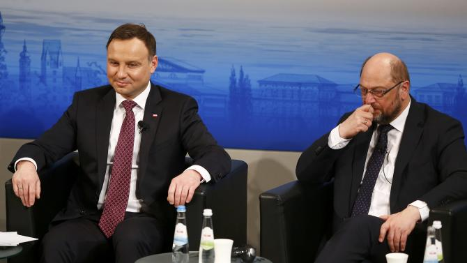 Poland's President Duda and European Parliament President Schultz attend the Presidential debate at the Munich Security Conference in Munich