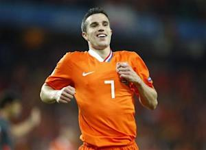 Netherlands' Van Persie celebrates after their Euro 2008 soccer match victory over Romania in Bern