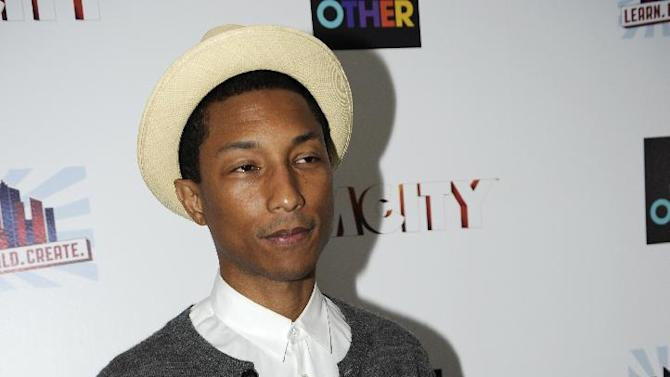 Pharrell Williams arrives at the EA SimCity Learn. Build. Create. Inauguration After-Party, Tuesday, Jan. 22, 2013, in Washington. (Photo by Nick Wass/Invision for EA/AP Images)