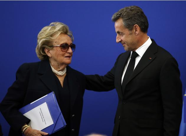 Former French President Nicolas Sarkozy and Bernadette Chirac, President of the Claude Pompidou foundation, attend the inauguration of the Institut Claude Pompidou in Nice