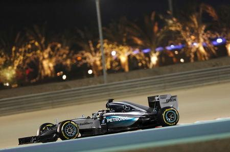 Mercedes Formula One Driver Lewis Hamilton of Britain drives during the second free practice ahead of Bahrain's F1 Grand Prix at Bahrain International Circuit, south of Manama