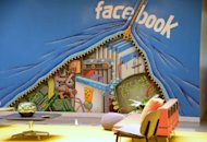 A mural decorates one of the many open space work areas at the Facebook headquarters in Menlo Park, California, May 15, 2012. With investors hungry for Facebook shares ahead of a hotly anticipated offering, the social network unveiled a 25 percent increase in the number of shares to be sold at the market debut