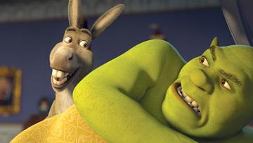 Donkey (voiced by Eddie Murphy ) and Shrek (voiced by Mike Myers ) in DreamWorks Animation's Shrek the Third